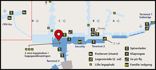 København Flyplass Kastrup--Ligger ved siden av ankomsthallen i Terminal 3. Se kart